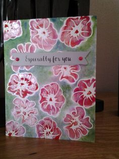 Altenew Whimsical Flowers embossed, watercoloured, ironed and Perfect Pearled. SSS Sentiment and banner.