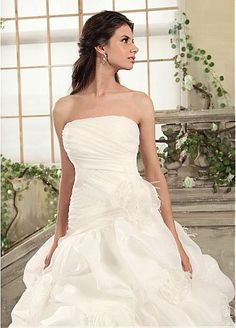 Glamorous Organza Satin & Satin Ball Gown Strapless Neckline Pick Up Wedding Dress With Feather  #Dressilyme