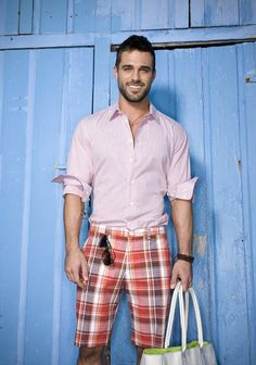 Men's Pink Long Sleeve Shirt, Red Plaid Shorts, White Tote Bag, Black Sunglasses