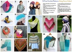15 Free Crochet Patterns Using Caron Cakes compiled by The Stitchin' Mommy ht. Crochet Gratis, Crochet Yarn, Crochet Stitches, Free Crochet, Crochet Ideas, Crochet Projects, Crochet Poncho Patterns, Crochet Scarves, Crochet Shawl
