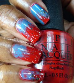 Red, Blue & Some Glitter Nail Art   Nails Beautiqued
