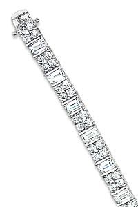 Emerald Cut w/ Rounds Designer Inspired CZ Bracelet, 13.0 Ct TW