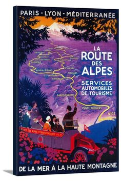 France - La Route Des Alpes - Vintage Travel Poster