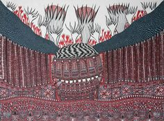 """Untitled drawing by British """"outsider"""" artist Farouq Molloy (b Red, blue and black ink on paper, 22 x via England & Co Kendall, Bad Art, Art Brut, Folk Fashion, High Art, Naive Art, Art Drawings, Drawing Art, Outsider Art"""