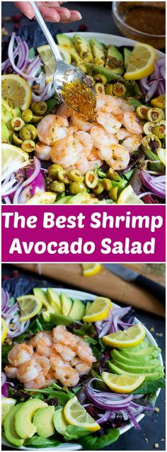 This is The Best Shrimp Avocado Salad you will ever try. Delicious juicy shrimps mixed with fresh greens and soft avocados with a drizzle of a terrific sauce make the perfect salad!