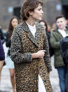 Alexa Chung - leopard coat