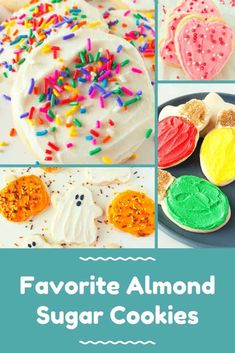 My favorite almond sugar cookies are easy, roll out, cut out sugar cookies! They are delicious with frosting, decorated with icing or topped with sprinkles! Roll Out Sugar Cookies, Cut Out Cookie Recipe, Cut Out Cookies, Fun Cookies, Cookie Recipes, Decorated Cookies, Fun Desserts, Delicious Desserts, Dessert Recipes