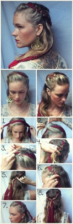 Half up scarf braids! #hair