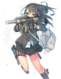Image result for anime girls with guns