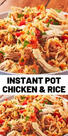 Instant Pot Chicken & Rice If there's one thing we find magical about Instant Pots, it's how quickly and perfectly they cook chicken and rice. Healthy Chicken Recipes, Crockpot Recipes, Cooking Recipes, Rice Recipes, Best Instant Pot Recipe, Instant Pot Dinner Recipes, Instant Pot Pressure Cooker, Pressure Cooker Recipes, Recipes
