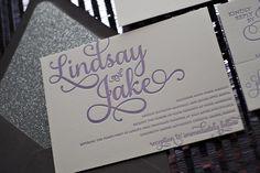 Purple and Grey Glitter Letterpress Wedding Invitations