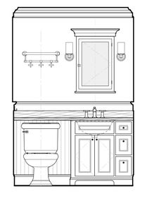 Kid's bathrooms Artec, Elevation Drawing, Construction Documents, Drawing Interior, Bedroom Wall Designs, Technical Drawings, Project 3, Autocad, Bathroom Interior