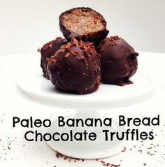 Paleo Banana Bread Chocolate Truffles via @Civilized Caveman Cooking Creations/ // #banana #paleo #chocolate #truffles #recipe #bananabread #cashews #coconutoil