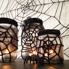 All spider webs begin with a single thread and  so do our yarn spider web jars!      We loved our giant   yarn spider webs  from last year a...