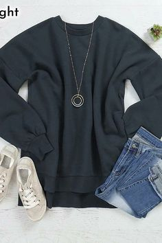 We are offering a round long-sleeve sweater made from a solid fabric for a soft, cozy feel. Pair this with ripped jeans and your favorite sneakers for a super-casual look. Black Peach, Black And Grey, Sweater Making, Ripped Jeans, Long Sleeve Sweater, Casual Looks, Tights, Graphic Sweatshirt, Sweatshirts
