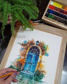 Watercolor Artwork, Watercolor Illustration, Watercolor Flowers, Watercolor Landscape, Simple Watercolor, Watercolor Water, Watercolor Portraits, Arte Bar, Arte Sketchbook