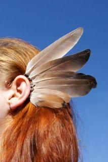 Bijoux tour d'oreille cuivre plumes
