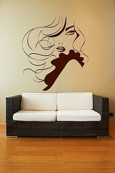 Salon Wall Art female face sexy hair spa beauty salon mural wall art decor vinyl