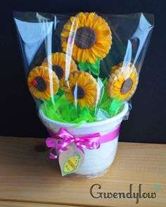 Maceta con galletas con forma de girasol - Día de la madre