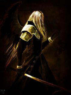 Final Fantasy VII - Sephiroth, one winged angel. Final Fantasy Artwork, Final Fantasy Vii Remake, Fantasy Series, Fantasy World, Matsuri Hino, Ai No Kusabi, Fanart, Video Game Art, Video Games