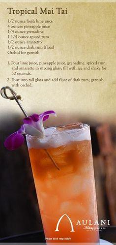 Tropical Mai Tai: Lime Juice, Pineapple Juice, Grenadine, Spiced Rum, Amaretto, Dark Rum.