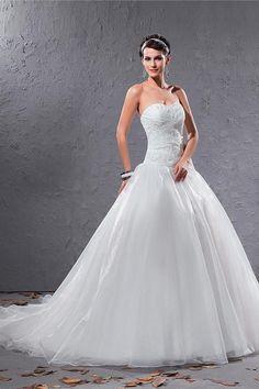 Organza Sweetheart Romantic Bridal Dress - Order Link: http://www.theweddingdresses.com/organza-sweetheart-romantic-bridal-dress-twdn3224.html - Embellishments: Beading,Ruffles; Length: Court Train; Fabric: Organza; Waist: Dropped - Price: 217.12USD