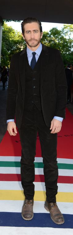 American actor Jake Gyllenhaal wearing Burberry to the premiere of Enemy at the Toronto International Film Festival 2013