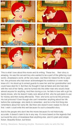 I wish I could write like this movie's writers. The story between Anastasia and Dmitri is beautifully done. Disney Pixar, Disney Cartoons, Disney And Dreamworks, Disney Animation, Disney Magic, Walt Disney, Animation Movies, Disney Nerd, Comic