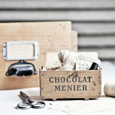 Image of Small Antique Wooden Box - Chocolat Menier N°1