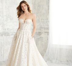 Corset Bodice Platinum Wedding Gown In Ivory Nude