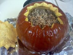 This is a very cute idea for around Halloween.  When I first saw the recipe, I thought YUCK, but then I tried it and it is really good and kids think it is GREAT because it is prepared and served in a pumpkin.  2 hours is the time I baked my 10 to 12 lb pumpkin and it was almost too long.