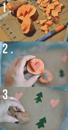 DIY holiday wrapping ideas, potato stamp brown craft paper for a fun custom wrapping paper!