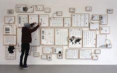 Ein Versuch, den Betrachter durch die Konfrontation mit einer Informationsflut zu einer Vergegenwärtigung und aktiven Auseinandersetzung mit aufgezeigten Inhalten anzuregen. Jeder Rahmen umfasst ein Themengebiet aus dem hiesigen Bildungskanon. In Form einer »Salonhängung« ergibt sich eine Wissenswand. Magnetische Pfeile und Zahlen ermöglichen dem Betrachter, eigenständig inhaltliche Verknüpfungen herzustellen. Wichtigstes Gestaltungselement ist die Typografie. Satz und [...]