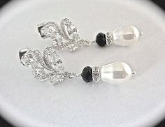 Pearl drop Earrings   Black Swarovski by QueenMeJewelryLLC on Etsy