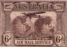Australia 1931 - Airmail Service - Perforation No watermark. Australian Painting, Commemorative Stamps, Stamp Collecting, My Stamp, Postage Stamps, Art Forms, New Zealand, Vintage World Maps, Old Things