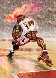 This is another great caricature from the same artist who created the Kevin Garnett one above, this time it feature Miami Heat guard Dwyane Wade.