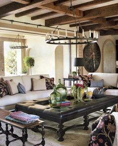 Orange County Farmhouse CA Pal Smith The Table Seating And Spanish InteriorOttoman TableBohemian Living