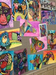 Art at Becker Middle School - zentangle animals with any learned watercolor technique.