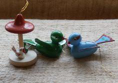 3 Wooden Bird Ornaments, Vintage Christmas decorations, Bluebird, Greenbird, Mushroom with tiny birds underneath.  Have a merry vintage Christmas!
