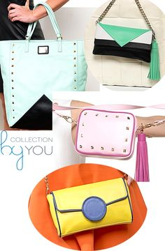 Candy-pink, shining-yellow, brilliant water green and lovely blue-sky!! Nice new spring colors in @Collection By You. Your exclusive and unique bag now easier