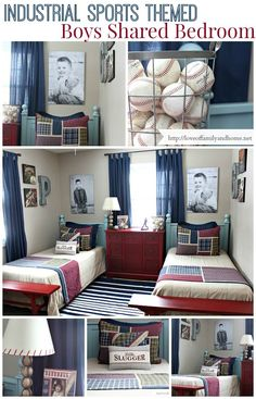 Industrial Sports Themed Boys Shared Bedroom #BoyBedrooms