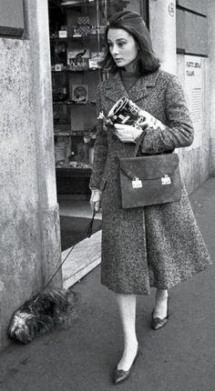Audrey Hepburn walking her dog in Rome 1959