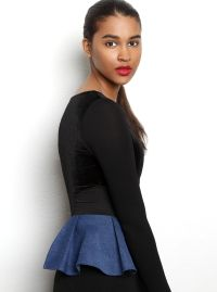 R/H Sheryl Bodysuit is a one-piece wonder completed with denim fringes on the sides and a small circle in the back showing a peek of bare skin. Fringes, Tights, Bell Sleeve Top, Trousers, Bodysuit, Ballet Skirt, High Neck Dress, Feminine, One Piece