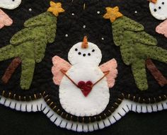 Ideas For Christmas Tree Skirt Penny Rugs Christmas Applique, Felt Christmas Ornaments, Christmas Sewing, Christmas Crafts, Christmas Tree, Xmas, Penny Rug Patterns, Wool Applique Patterns, Felt Applique