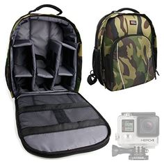 Introducing DURAGADGET Rugged Camouflage WaterResistant Nylon Rucksack  Backpack with Customizable Interior  Large Storage Space Compatible with All GoPro Devices Including HD Hero 1 2  3 3 4 and 4 Session  Session Surf. Great product and follow us for more updates!