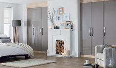 Accent Truffle Gloss fitted bedroom from the Schreiber fitted furniture range at Homebase