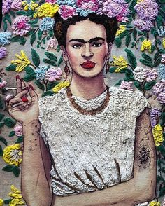 Love this! It's printed on a t shirt then hand painted with a 3D effect watercolour by @quor_e #frida#fridafashion