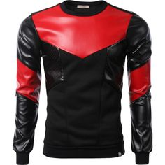 Black Red Leather Fleece Sweatshirt with Zipper found on Polyvore featuring polyvore, fashion, clothing, tops, hoodies, sweatshirts, black sweat shirt, fleece tops, leather sweatshirt and leather top