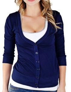 Juniors T-Shirt Fabric Cardigan 3/4 Sleeve 6 Button Many Colors (Large, Navy) Cotton Cantina,http://www.amazon.com/dp/B00BQKKWRY/ref=cm_sw_r_pi_dp_X5ubtb0HS1REB9BQ