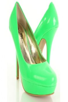 Neon Green Patent Faux Leather Round Closed Toe Pump Heels